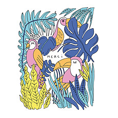 Achat Anniversaire & Fête Carte Double & Enveloppe Toucan Merci