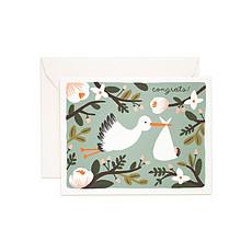 "Achat Livre & Carte Carte Double & Enveloppe Cigogne ""Congrats"""