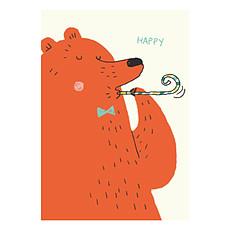 "Achat Anniversaire & Fête Carte Double & Enveloppe Ours ""Happy Birthday"""