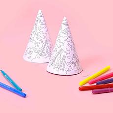 Achat Anniversaire & Fête 8 Chapeaux pointus en carton à colorier