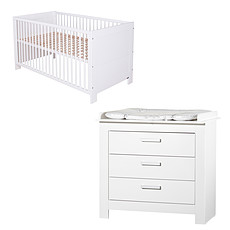 Achat Chambre complète Chambre Duo Lit & Commode - Collection Marlene - Blanc