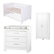 Achat Chambre complète Chambre Trio Lit, Commode & Armoire 2 Portes - Collection Marlene - Blanc
