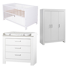 Achat Chambre complète Chambre Trio Lit, Commode & Armoire 3 Portes - Collection Marlene - Blanc