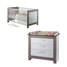 Achat Chambre complète Chambre Duo Lit & Commode - Collection Marlene - Blanc / Ceruse