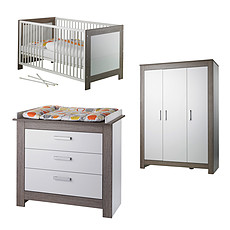 Achat Chambre complète Chambre Trio Lit, Commode & Armoire 3 Portes - Collection Marlene - Blanc / Ceruse