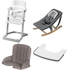 Achat Chaise haute Pack Chaise Haute Tamino, Transat Rocco, Tablette & Coussin de Chaise - Blanc / Gris à Pois