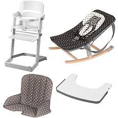 Achat Chaise haute Pack Chaise Haute Tamino, Transat Rocco, Tablette & Coussin de Chaise - Blanc / Arabesque Noir