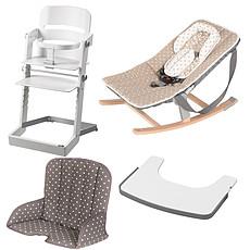 Achat Chaise haute Pack Chaise Haute Tamino, Transat Rocco, Tablette & Coussin de Chaise - Blanc / Arabesque Doré