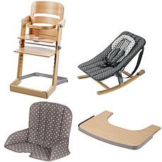 Achat Chaise haute Pack Chaise Haute Tamino, Transat Rocco, Tablette & Coussin de Chaise - Naturel / Gris à Pois
