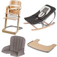 Achat Chaise haute Pack Chaise Haute Tamino, Transat Rocco, Tablette & Coussin de Chaise - Naturel / Arabesque Noir