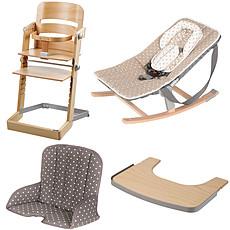 Achat Chaise haute Pack Chaise Haute Tamino, Transat Rocco, Tablette & Coussin de Chaise - Naturel / Arabesque Doré