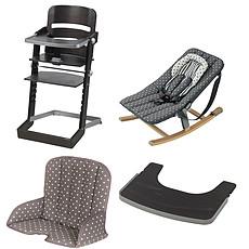 Achat Chaise haute Pack Chaise Haute Tamino, Transat Rocco, Tablette & Coussin de Chaise - Wengé / Gris à Pois