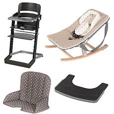 Achat Chaise haute Pack Chaise Haute Tamino, Transat Rocco, Tablette & Coussin de Chaise - Wengé / Arabesque Doré