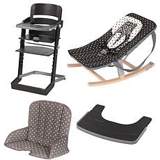 Achat Chaise haute Pack Chaise Haute Tamino, Transat Rocco, Tablette & Coussin de Chaise - Wengé / Arabesque Noir