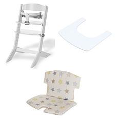 Achat Chaise haute Ensemble Chaise Haute Syt, Tablette & Coussin de Chaise - Blanc / Etoiles