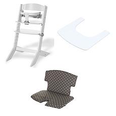 Achat Chaise haute Ensemble Chaise Haute Syt, Tablette & Coussin de Chaise - Blanc / Point Blanc