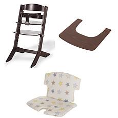 Achat Chaise haute Ensemble Chaise Haute Syt, Tablette & Coussin de Chaise - Wengé / Etoiles