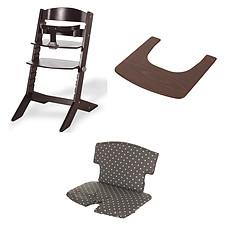 Achat Chaise haute Ensemble Chaise Haute Syt, Tablette & Coussin de Chaise - Wengé / Points Blancs