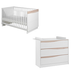 Achat Chambre complète Chambre Duo Lit & Commode - Collection Wave - Blanc/Naturel