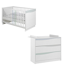 Achat Chambre complète Chambre Duo Lit & Commode - Collection Wave - Blanc/Pastel