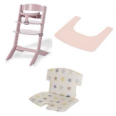 Achat Chaise haute Ensemble Chaise Haute Syt, Tablette & Coussin de Chaise - Rose / Etoiles
