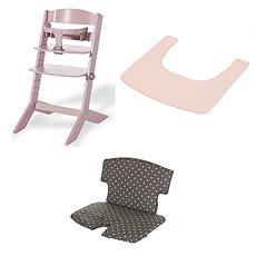 Achat Chaise haute Ensemble Chaise Haute Syt, Tablette & Coussin de Chaise - Rose / Points Blancs