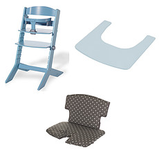 Achat Chaise haute Ensemble Chaise Haute Syt, Tablette & Coussin de Chaise - Bleu / Points Blancs