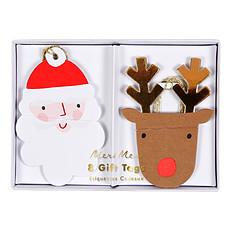 Achat Anniversaire & Fête Lot de 8 Étiquettes Cadeaux Père-Noël et Rennes