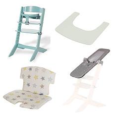 Achat Chaise haute Pack Chaise Haute Syt, Transat Sit'N'Sleep, Tablette & Coussin de Chaise Etoiles - Menthe à l'Eau
