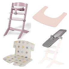 Achat Chaise haute Pack Chaise Haute Syt, Transat Sit'N'Sleep, Tablette & Coussin de Chaise Etoiles - Rose