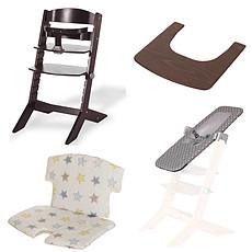 Achat Chaise haute Pack Chaise Haute Syt, Transat Sit'N'Sleep, Tablette & Coussin de Chaise Etoiles - Wengé