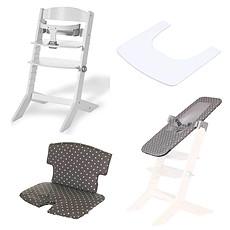 Achat Chaise haute Pack Chaise Haute Syt, Transat Sit'N'Sleep, Tablette & Coussin de Chaise Points Blancs - Blanc