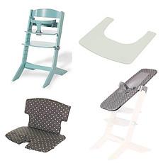 Achat Chaise haute Pack Chaise Haute Syt, Transat Sit'N'Sleep, Tablette & Coussin de Chaise Points Blancs - Menthe à l'Eau