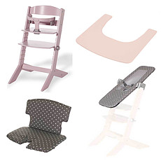 Achat Chaise haute Pack Chaise Haute Syt, Transat Sit'N'Sleep, Tablette & Coussin de Chaise Points Blancs - Rose