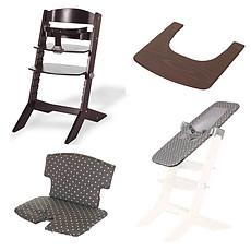 Achat Chaise haute Pack Chaise Haute Syt, Transat Sit'N'Sleep, Tablette & Coussin de Chaise Points Blancs - Wengé