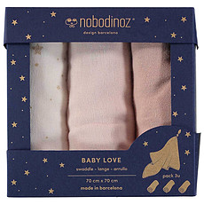 Achat Lange Lot de 3 Langes Baby Love - Bloom Pink