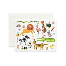 """Achat Anniversaire & Fête Carte Double & Enveloppe """"Party Animals"""""""