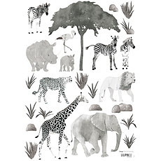 Achat Sticker Serengeti - Stickers A3 - Planche Composée d'Animaux