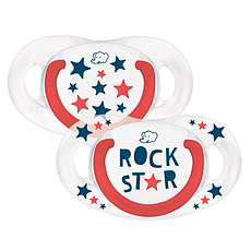 Achat Succion Lot de 2 Sucettes Silicone Natural Physio Rock Star - 6/18 mois