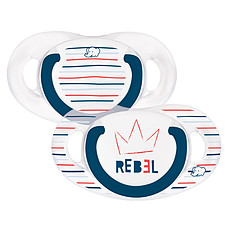 Achat Sucette Lot de 2 Sucettes Silicone Natural Physio Rebel - 18/36 mois