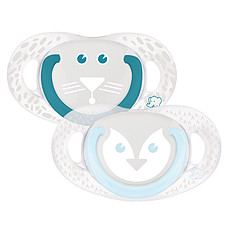 Achat Sucette Lot de 2 Sucettes Silicone Natural Physio Pingouin/Tigre - 6/18 mois