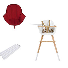 Achat Chaise haute Chaise Haute Ovo Luxe One Assise Rouge et Extension - Blanc