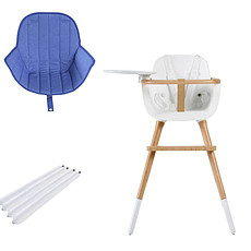 Achat Chaise haute Chaise Haute Ovo Plus One Assise Bleue et Extension - Blanc