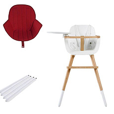 Achat Chaise haute Chaise Haute Ovo Plus One Assise Rouge et Extension - Blanc