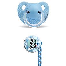 Achat Sucette Sucette Physio Panda 6/18 mois et son attache-sucette - Bleu