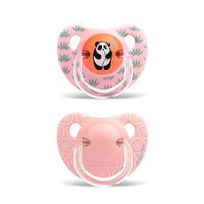 Achat Sucette Lot de 2 Sucettes Physio Silicone Panda & Fleurs 6/18 Mois - Rose