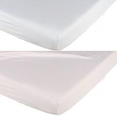 Achat Linge de lit Lot de 2 Draps Housses Blanc et Rose - 70 x 140 cm