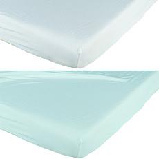 Achat Linge de lit Lot de 2 Draps Housse 70 x 140 cm - Blanc/Bleu