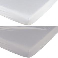 Achat Linge de lit Lot de 2 Draps Housses Blanc et Gris - 70 x 140 cm