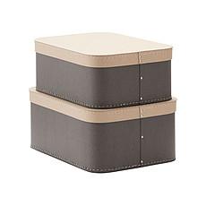Achat Panier & corbeille Lot de 2 Boîtes de Rangement Rectangulaires - Gris